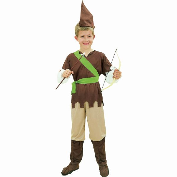 Boys Medieval Robin Hood Budget Costume Middle Dark Ages Fancy Dress Outfit